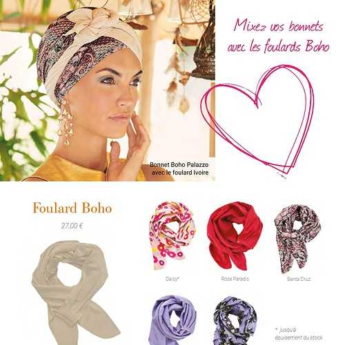 Bonnets et Foulards Boho spirit - Chimiothérapie - Collection Elite Hair - Printemps -été 2021  bohobonnetamovibleetfourlard